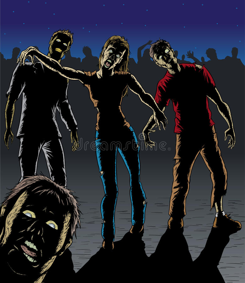 attackzombie stock illustrationer