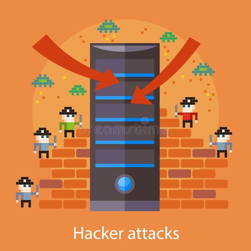 Attaks do hacker ilustração stock
