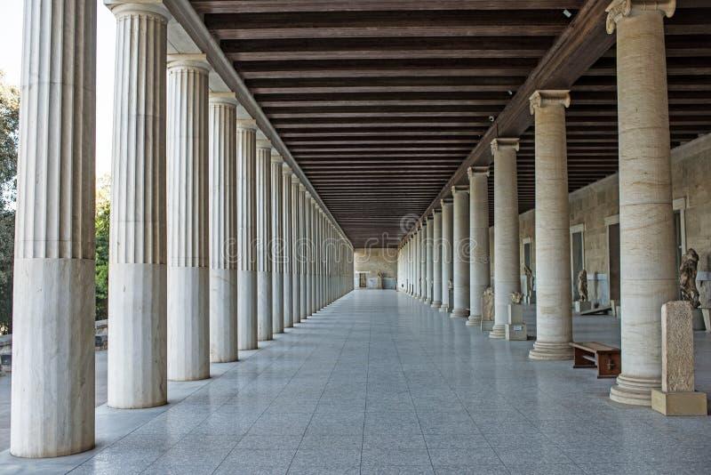 Attalos Stoa在古老集市,雅典,希腊 库存照片