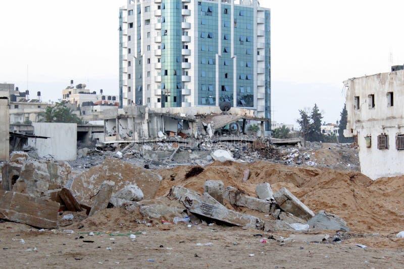 Attaque à la bombe de matin sur gaza photographie stock libre de droits