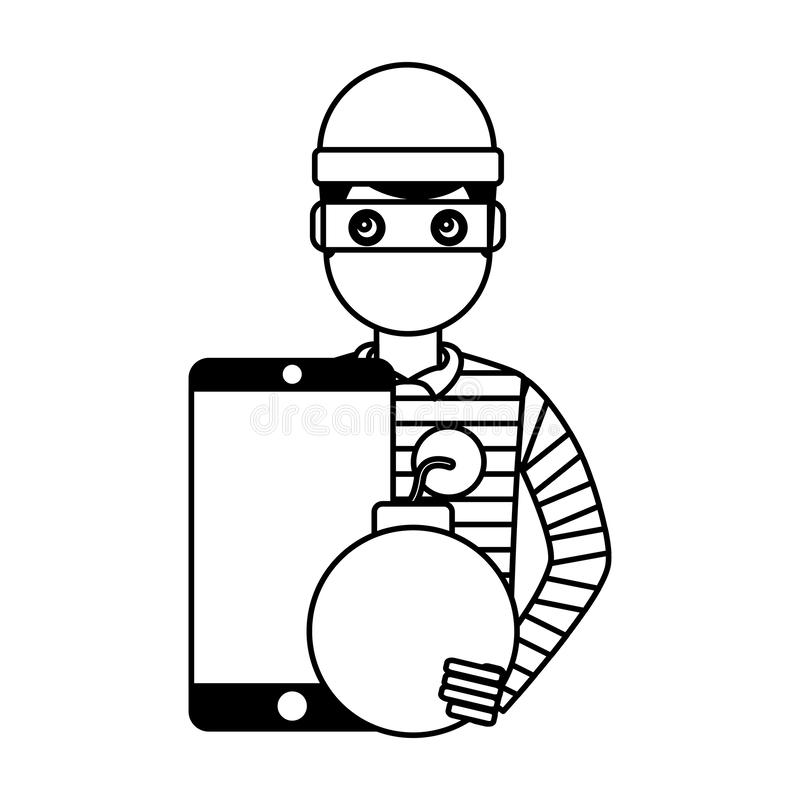 Attaque de bombe de smartphone de voleur de pirate informatique illustration stock
