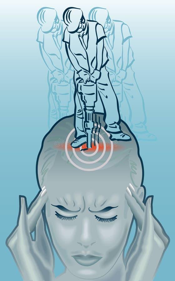 Attaque de broyage de migraine illustration de vecteur