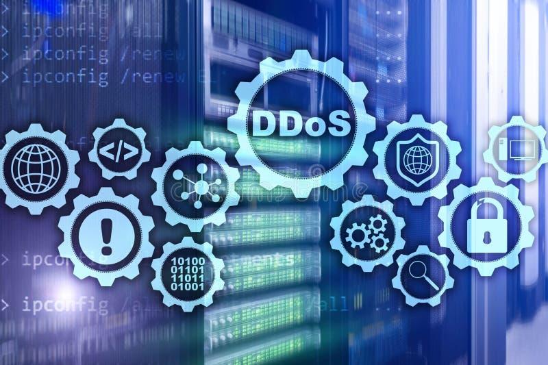 Attaque de Cyber de DDoS Technologie, Internet et concept de réseau de protection Fond de datacenter de serveur illustration stock