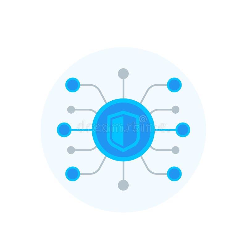 Attaque de Cyber, entaillant l'icône de vecteur sur le blanc illustration de vecteur