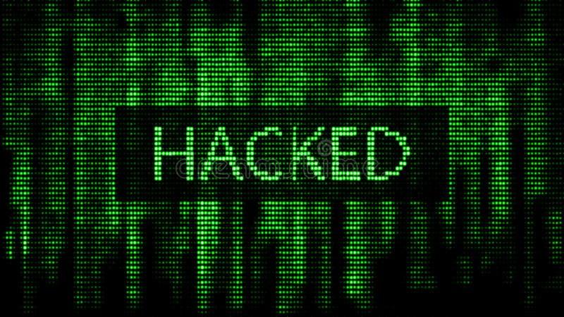 Attaque de Cyber Matrice verte de fond de Digital Code machine binaire Calibres d'erreur d'?cran d'ordinateur rendu 3d illustration libre de droits