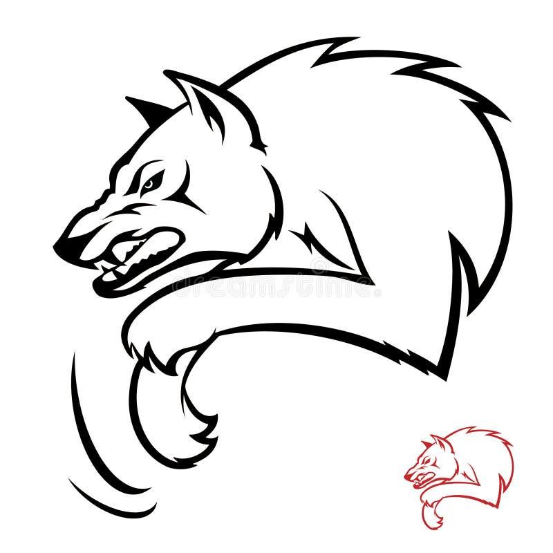 Attaque de loup illustration de vecteur