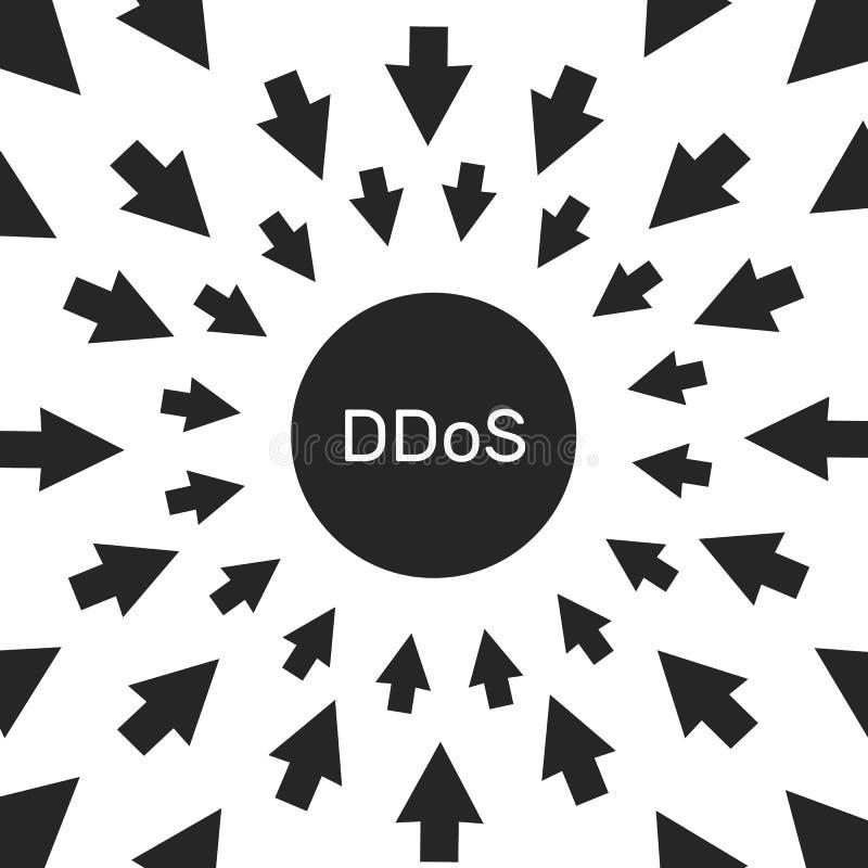 Attaque de pirate informatique de DDoS menace de protection de l'ordinateur et de réseau illustration libre de droits