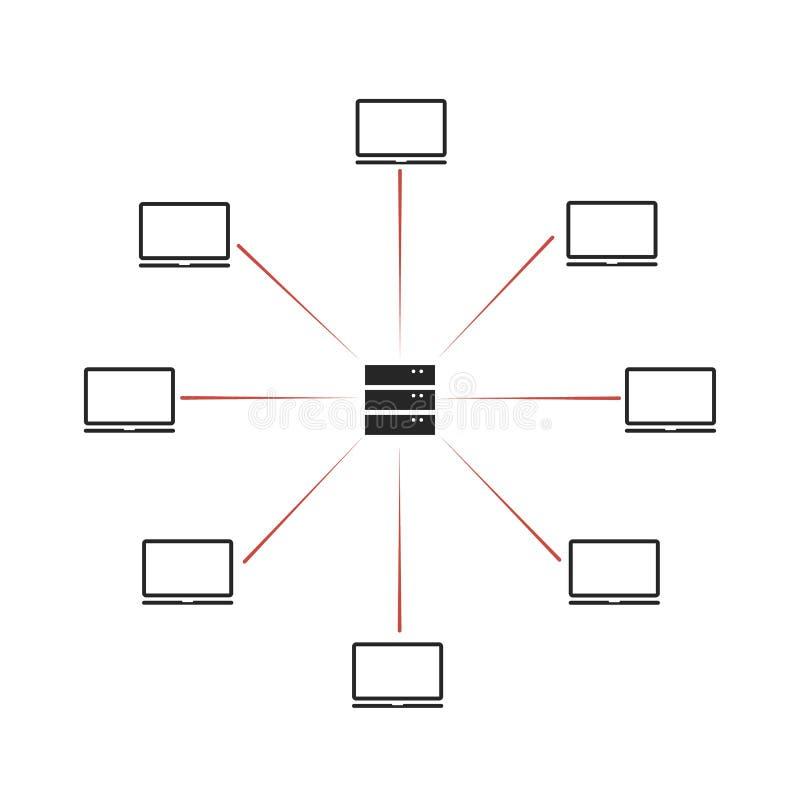 Attaque de pirate informatique de DDoS menace de protection de l'ordinateur et de réseau illustration de vecteur
