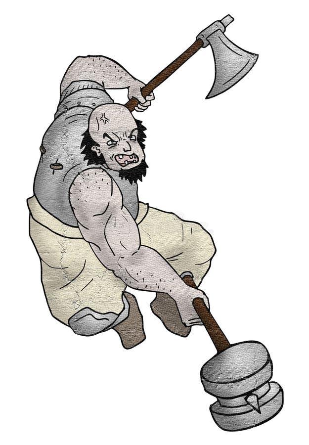 Attaque forte de guerrier illustration de vecteur