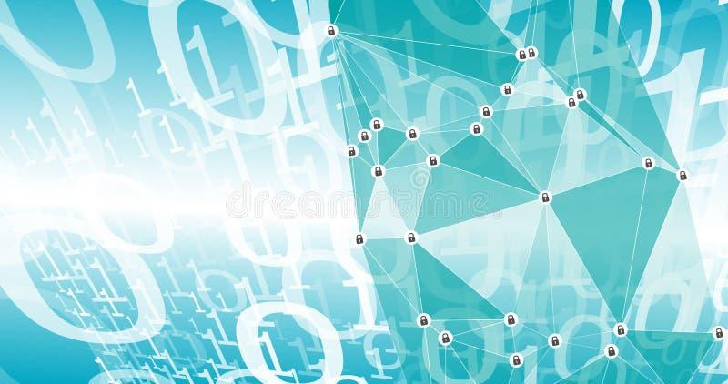Attaque, nombres binaire et cadenas de vecteur de Cyber illustration stock