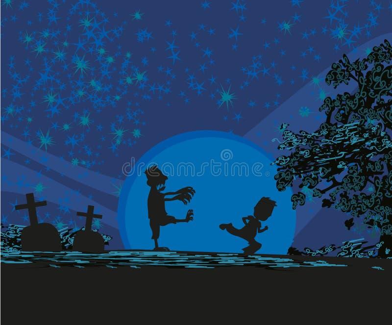 Attaques de zombi la nuit illustration libre de droits