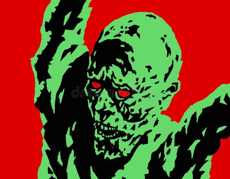 Attaques fâchées vertes de zombi Illustration de vecteur illustration libre de droits