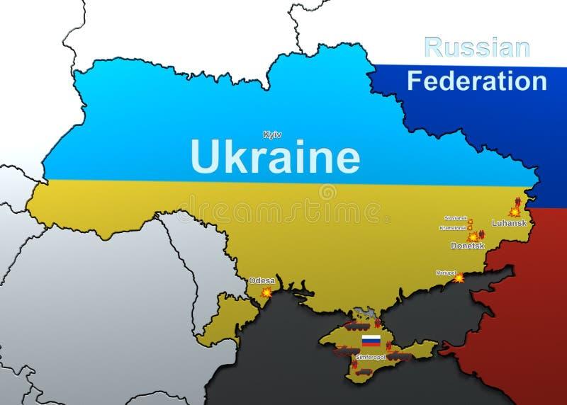 Attaques sur l'Ukraine carte illustration libre de droits