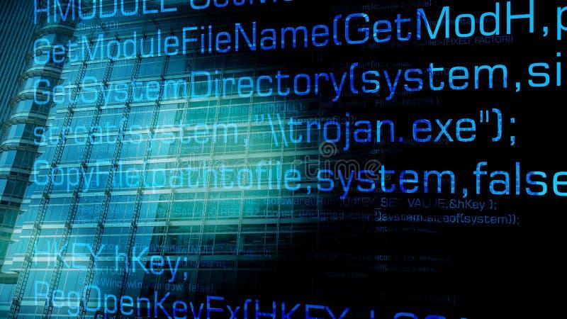Attaques trojan de cyber de bogue et d'avenir d'ordinateur illustration de vecteur