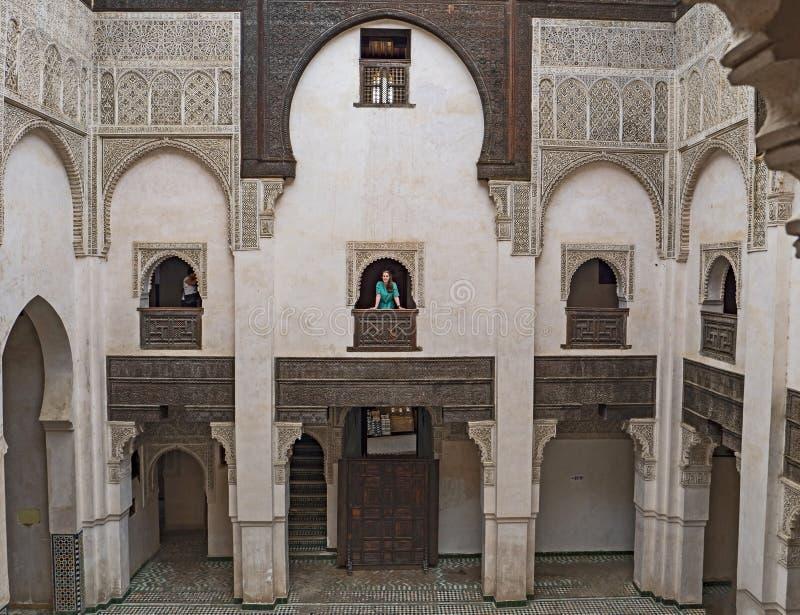 Attarine Medersa y patio en Fes, Marruecos foto de archivo libre de regalías