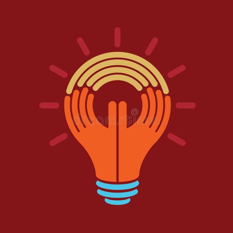 Atteignez l'idée, un humain pensent avec la main illustration libre de droits
