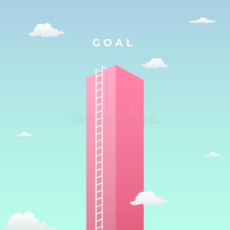 Atteignez le concept visuel de but avec la conception minimaliste d'art haut mur géant vers le ciel et l'illustration grande de v illustration libre de droits