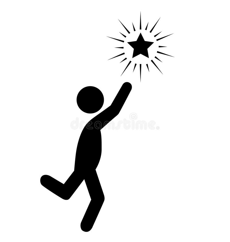 Atteignez le pictogramme plat d'icônes de personnes d'étoile d'isolement sur le blanc illustration stock