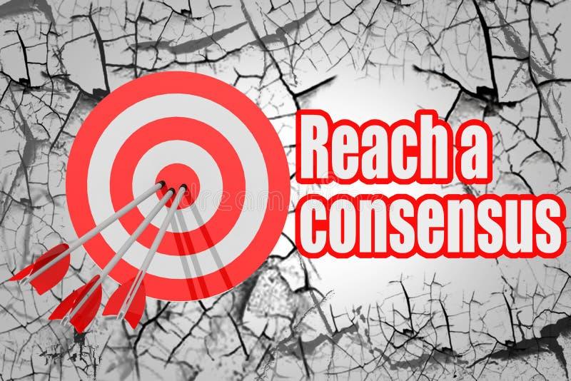 Atteignez un mot de consensus avec la flèche et le conseil rouges illustration libre de droits