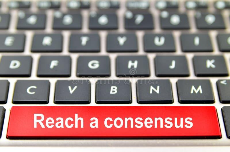 Atteignez un mot de consensus sur le clavier d'ordinateur illustration de vecteur
