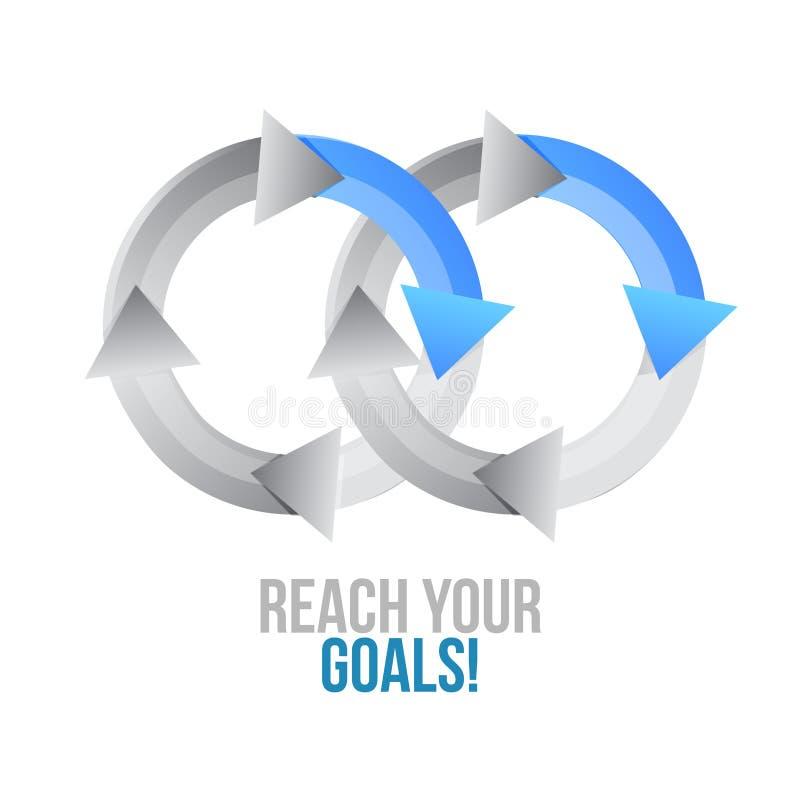 Atteignez vos buts rapprocher le signe de concept de cycle illustration de vecteur