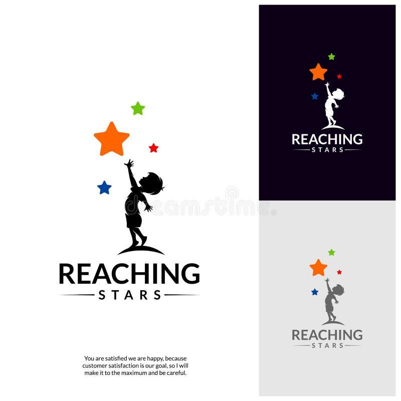 Atteinte des étoiles Logo Design Template Logo rêveur d'étoile Emblème, symbole coloré et créatif, icône illustration de vecteur