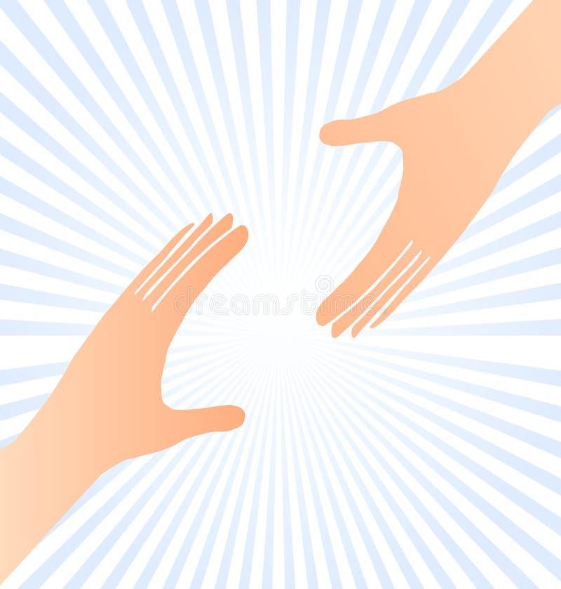 Atteinte du concept d'aide de mains illustration stock