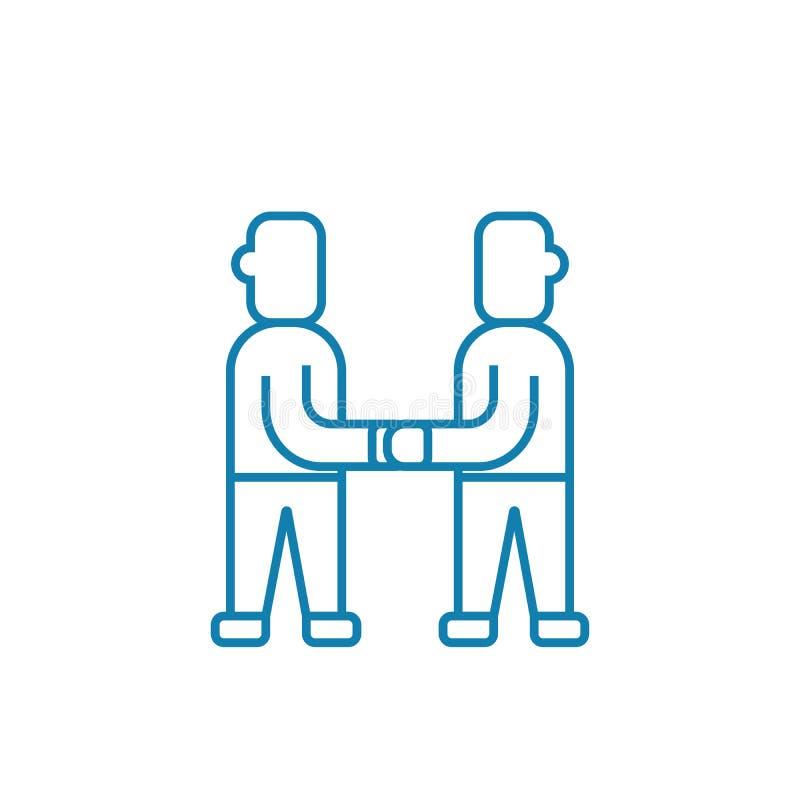 Atteinte du concept linéaire d'icône de consensus En atteignant le consensus rayez le signe de vecteur, symbole, illustration illustration de vecteur