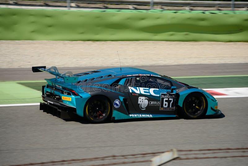Attempto Lamborghini que compite con Huracan GT3 en Monza foto de archivo
