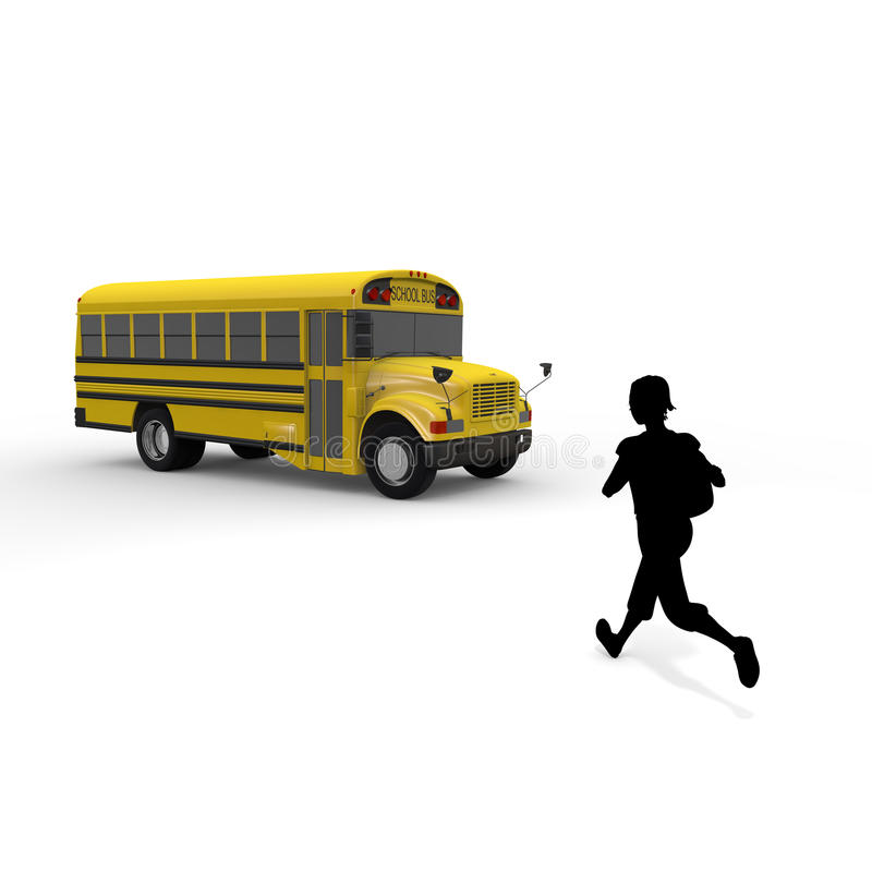 Attend school / Student. Student of the morning. Landscape of school. Take advantage of the school bus. I fit in friends. Students run. I get on the bus royalty free illustration