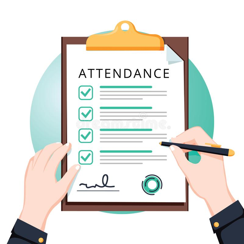 Attendance concept. Businessman holding document. Vector flat design. Man hold document clipboard with checklist. Questionnaire, survey, clipboard, task list stock illustration