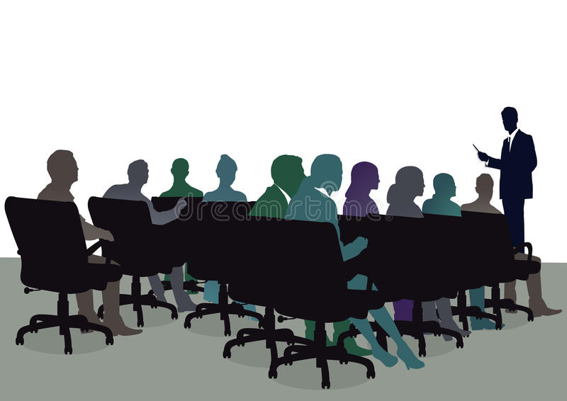 Attendees at training seminar. Silhouette of business professionals seated listening to lecturer at training seminar or symposium stock illustration