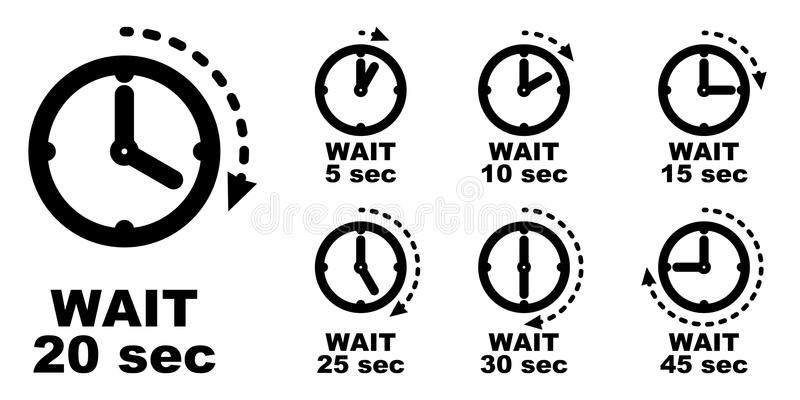 Attendez, faites une pause, période de passer l'icône de temps WI simples de symbole d'horloge illustration libre de droits