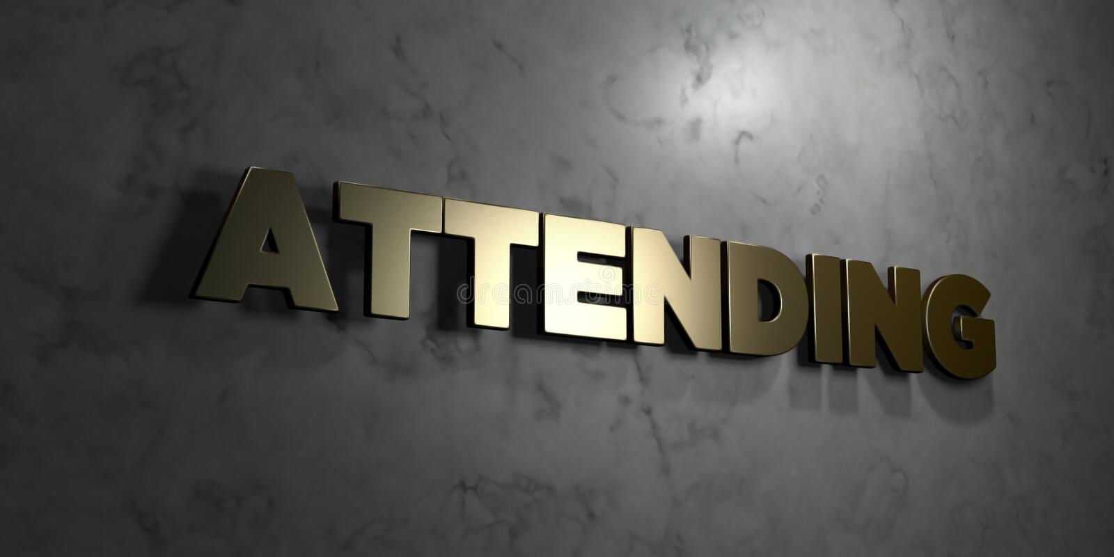 Attending - Gold text on black background - 3D rendered royalty free stock picture. This image can be used for an online website banner ad or a print postcard vector illustration