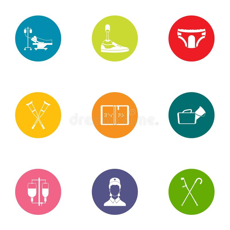 Attending physician icons set, flat style. Attending physician icons set. Flat set of 9 attending physician vector icons for web isolated on white background vector illustration