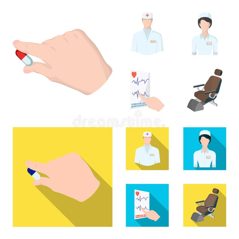 The attending physician, the nurse, the cardiogram of the heart, the dental chair. Medicineset collection icons in. Cartoon,flat style vector symbol stock vector illustration