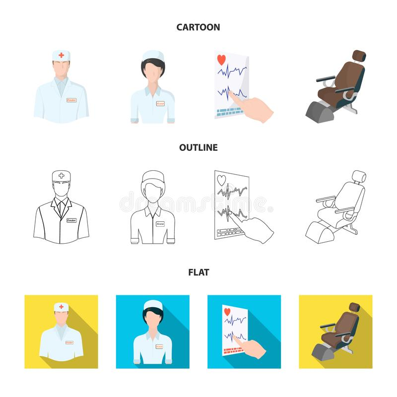 The attending physician, the nurse, the cardiogram of the heart, the dental chair. Medicineset collection icons in. Cartoon,outline,flat style vector symbol royalty free illustration