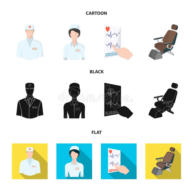 The attending physician, the nurse, the cardiogram of the heart, the dental chair. Medicineset collection icons in. Cartoon,black,flat style vector symbol stock royalty free illustration