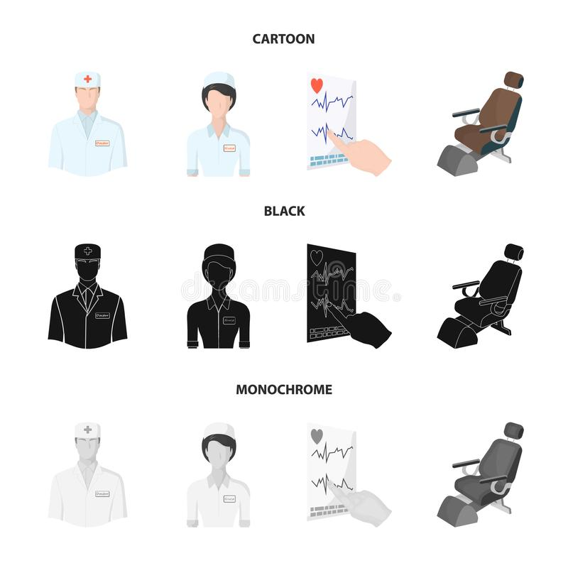 The attending physician, the nurse, the cardiogram of the heart, the dental chair. Medicineset collection icons in. Cartoon,black,monochrome style vector symbol royalty free illustration