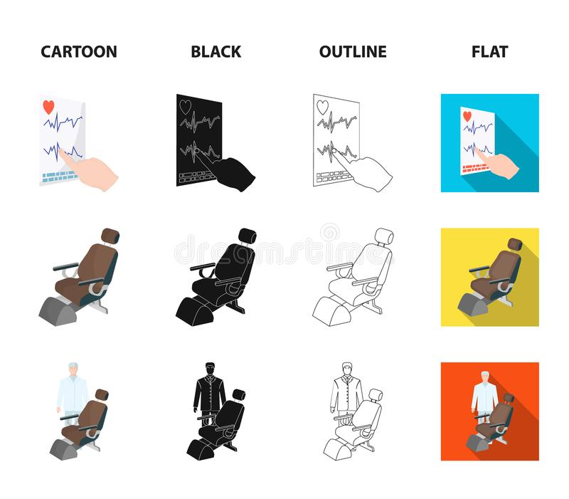 The attending physician, the nurse, the cardiogram of the heart, the dental chair. Medicineset collection icons in. Cartoon,black,outline,flat style vector royalty free illustration