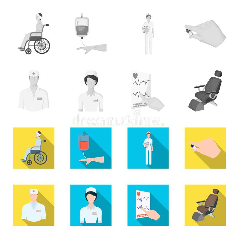 The attending physician, the nurse, the cardiogram of the heart, the dental chair. Medicineset collection icons in. Monochrome,flat style vector symbol stock royalty free illustration