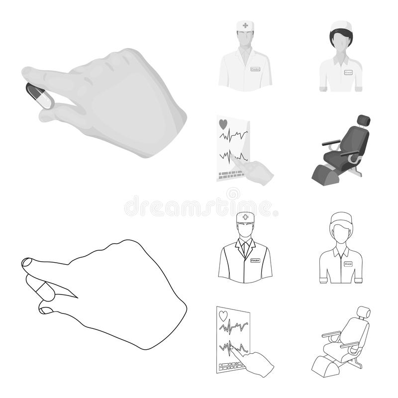 The attending physician, the nurse, the cardiogram of the heart, the dental chair. Medicineset collection icons in. Outline,monochrome style vector symbol stock stock illustration