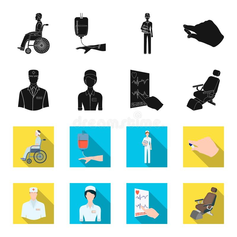 The attending physician, the nurse, the cardiogram of the heart, the dental chair. Medicineset collection icons in black. Flet style vector symbol stock royalty free illustration
