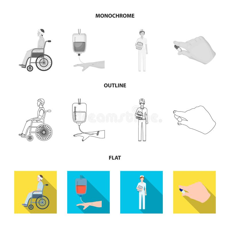 The attending physician, the nurse, the cardiogram of the heart, the dental chair. Medicineset collection icons in flat. Outline,monochrome style vector symbol vector illustration