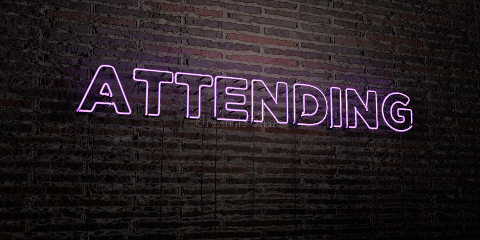 ATTENDING -Realistic Neon Sign on Brick Wall background - 3D rendered royalty free stock image. Can be used for online banner ads and direct mailers royalty free illustration