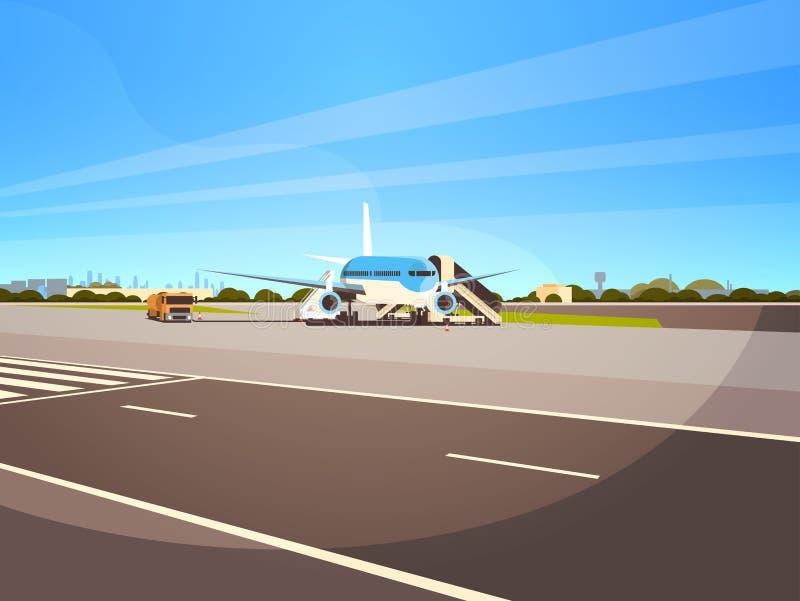 Attente plate de décollage de vol d'avions de terminal d'aéroport pour embarquer le fond de paysage urbain de passagers à plat ho illustration stock