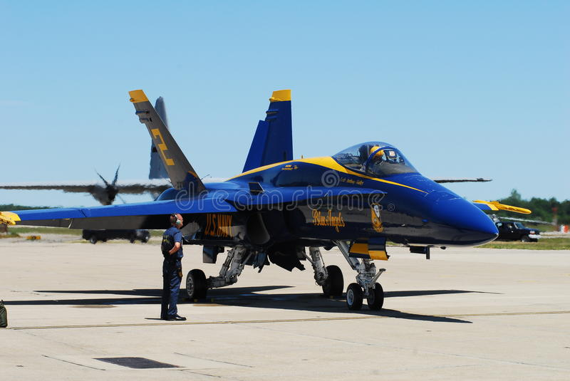 Attention!. Ground crew for the U.S. Navy Blue Angels mans his post at the Angels begin a demonstration royalty free stock image
