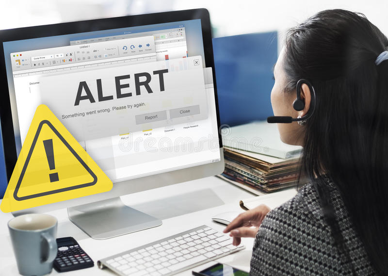 Attention Alert Connection Interrupted Warning Concept royalty free stock photo