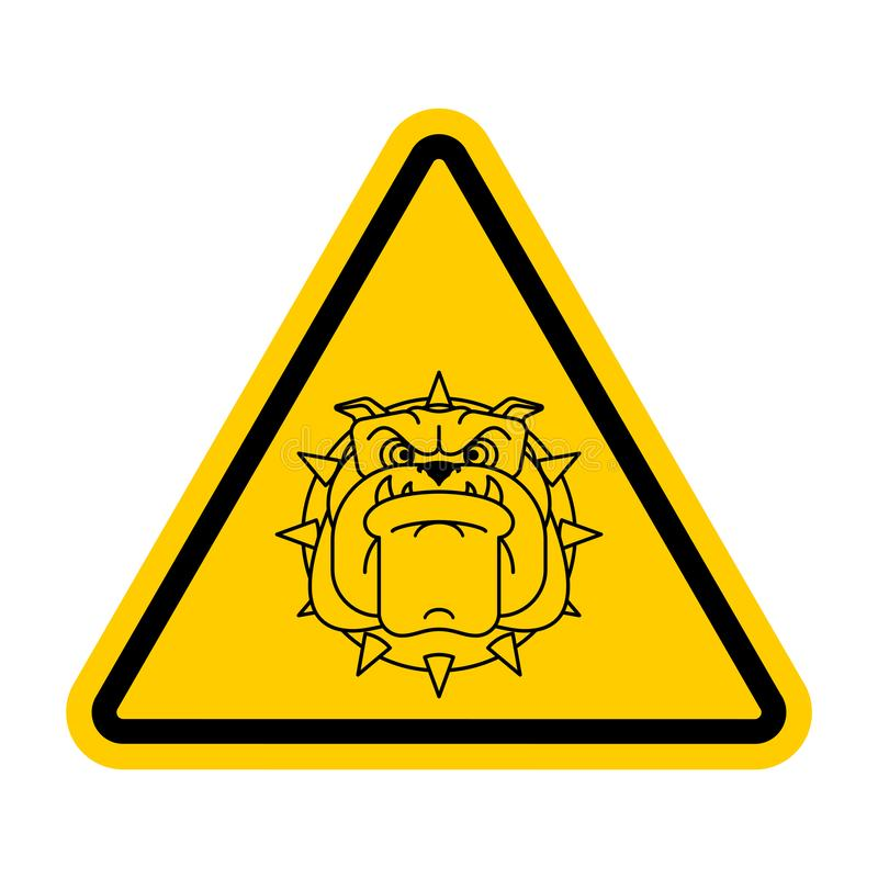Attention angry dog. Warning yellow road sign. Caution guard dog vector illustration