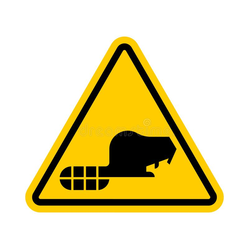 Attention Beaver. Warning yellow road sign. Caution River rodent royalty free illustration